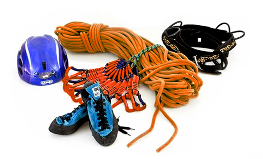 Climbing Gear, Ropes and Helmets